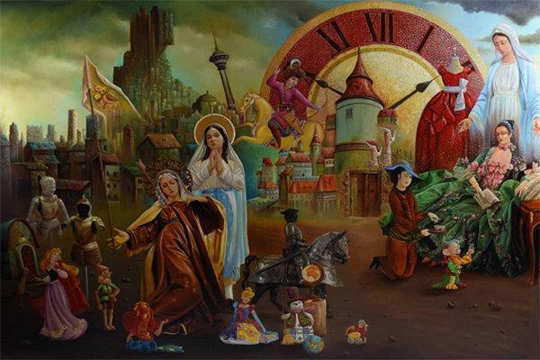 تقابل ظلم و امید در آثار یک نقاش، سلبریتی ها سوژه شدند