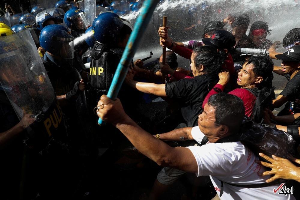 تصاویر : سرکوب تظاهرات مخالفان ترامپ با آب پرفشار در فیلیپین