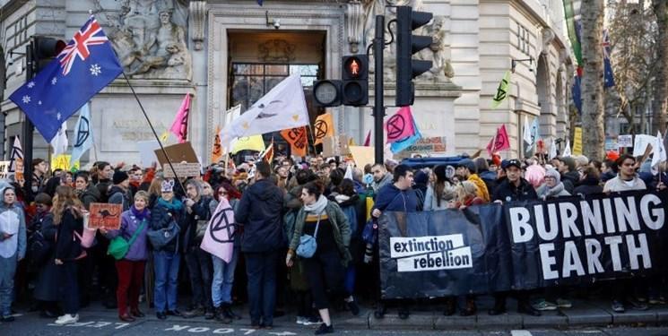 اعتراض به آتش سوزی های استرالیا به لندن رسید