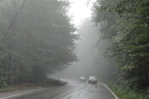 باران و مه در محور های مواصلاتی استان های شمالی