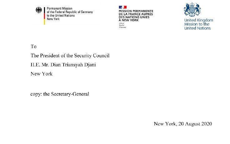 خبرنگاران نامه اروپایی ها به شورای امنیت: درخواست آمریکا برای مکانیسم ماشه اثرقانونی ندارد